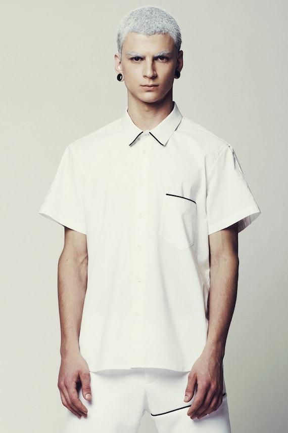 Mens short sleeve dress shirts white
