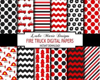 FIRE TRUCK Digital Papers - INSTANT Download - Fireman, Firefighter, Fire Truck