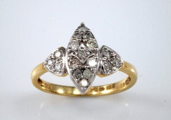 Marquise Diamond Engagement Ring Vintage Navette Ring 9k 9ct
