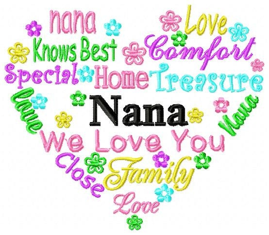 Nana Heart Word Art Embroidery Design INSTANT DOWNLOAD