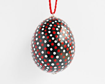 FREE SHIPPING, Hand painted egg, Chicken egg shell, Easter home decorations, Easter black and white home decor, Pysanky, Pysanka, Dots