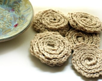 Ceramic stand bowl and five beige flower Face Scrubbies - Facial Wash Cloth, Baby Wash Cloth, Flower Scrubbies, Make Remover Pads
