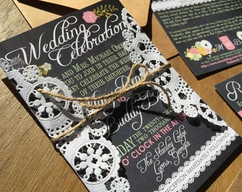 Vintage Chalkboard Lace Country Wedding Invitations & RSVPs
