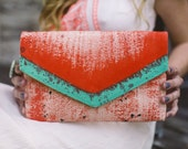 Envelope clutch with painted abstract design, Hand painted clutch purse with mint green and coral, Colorful clutch bag