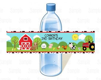 Printable Farm Animal Water Bottle Labels