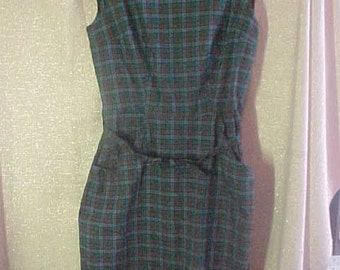 1950s Blue & Green Plaid Cotton Dress, Size 12, Adorable