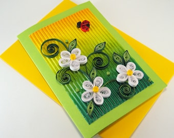Quilling Birthday Card - White Quilling Flowers - Beautiful Quilled Ladybird - Litle Girl Birthday Card - Handmade paper quilling card