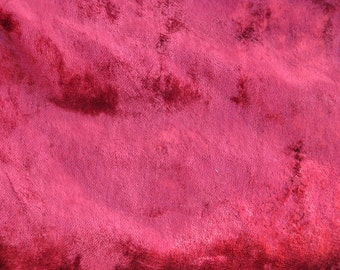 1 Yard of Vintage Plush Luxurious fabric (viscose on cotton base). Bright rich color bordo red plush. 1970's