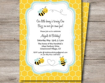 Bumble Bee Birthday or Shower Invitation, Printable Bee Invite with Editable Text, Editable Text Bumble Bee Party Invite, Bee Invitation,Bee
