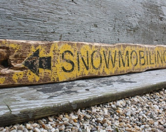 Snowmobiling Rustic Distressed Wood Lodge Cabin Sign