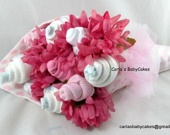 Baby Floral Bouquet - Baby Shower Bouquet - New Mom Gift - Baby Shower Gift, Diaper Flower Bouquet - Baby Sock Floral Arrangement