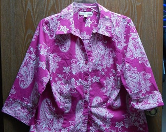 JM Collection Womens 14W Pink Fuschia Paisley Print Button Down Blouse/Top/Shirt