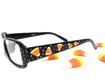 Women's Hand Painted Halloween Reading Glasses with Candy Corn and Polka Dots