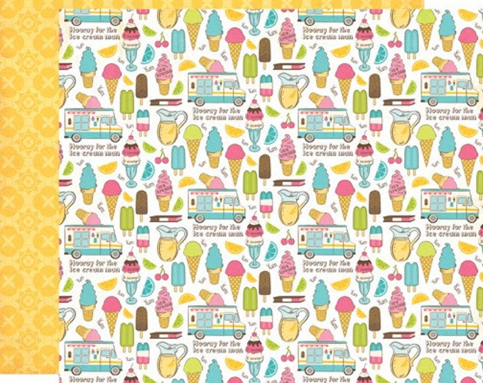 1 Sheet of Carta Bella Paper COOL SUMMER 12x12 Textured Ice Cream Theme Scrapbook Cardstock - Cool Off
