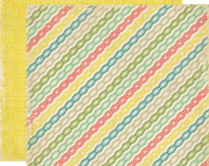 2 Sheets of Echo Park Paper FOR THE RECORD 12x12 Scrapbook Paper - Lace Stripes