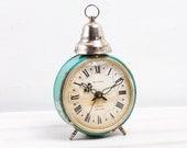 Vintage Green Jantar Soviet Slava Russian Mechanical Black Alarm Clock, USSR Watch, ohtteam, Russian Vintage, Mechanical watch, Soviet Union