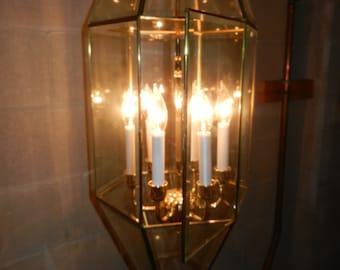 Brass Hanging Porch or Foyer Light - Six Candle Bulbs