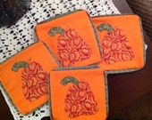 FREE Shipping U.S. Only.   A set of 4 Appliqued Harvest Pumpkin Coasters