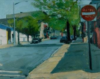 Original Oil Painting, Brooklyn, Urban Landscape, Street Scene by Robert Lafond
