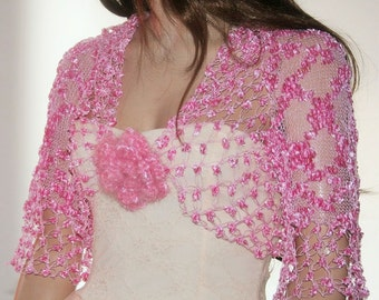 Wedding  Crochet  Knit Shawl Shrug  Capelet  pink