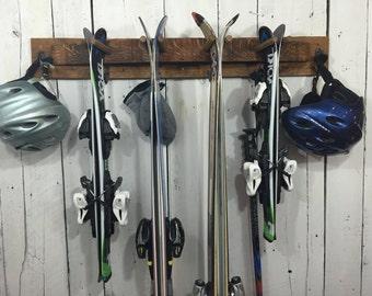 Rustic Ski Rack, Napa Valley Wine Barrel Staves, reclaimed wood