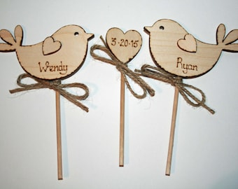 Personalised Wedding Cake Topper - Bird Cake Topper - Rustic Cake Topper - Wooden Cake Topper