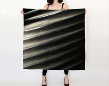 Gray Stripe Scarf -- Propeller Photo Scarf - Industrial Inspired Long Scarf - Big Square 36x36 Scarf -Small Square 26x26