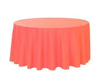 132 inch round polyester tablecloth coral wholesale wedding linen tablecloths