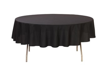 90 Inch Round Polyester Tablecloth Black | Wedding Tablecloths