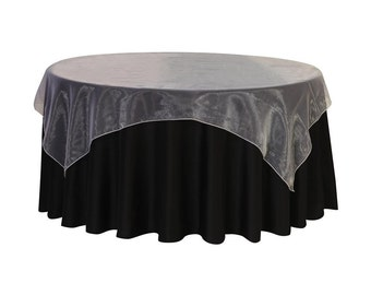 90 inch Square Organza Table Overlay White | Wedding Table Overlays