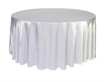 YCC Linen - 132 inch White Satin Round Tablecloth | Wedding Tablecloth