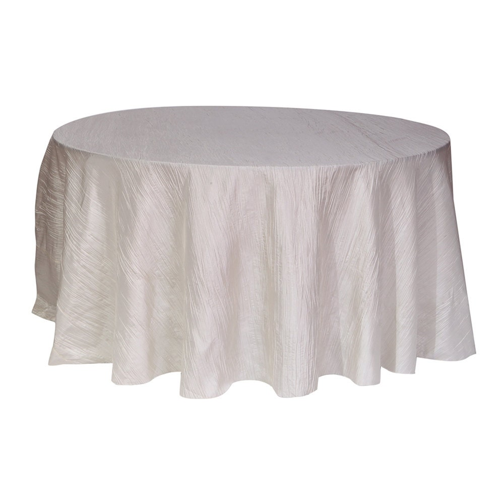 120 inch ivory crinkle taffeta round tablecloth wedding for 120 inch round table cloths