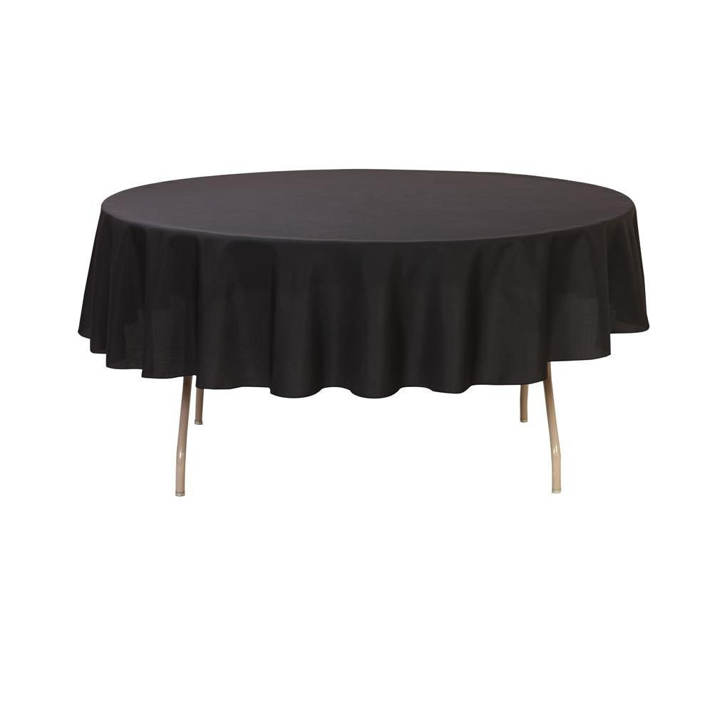 90 Inch Round Polyester Tablecloth Black Wedding Tablecloths