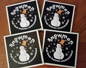 Snowmen Fall From Heaven Unassembled Coaster Set of 4