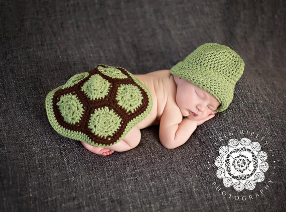 Turtle Shell and Hat Newborn Photo Prop Crochet Pattern
