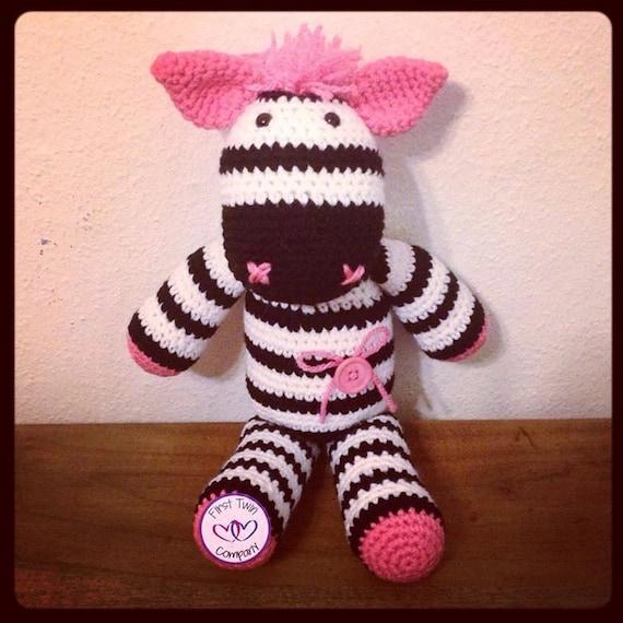 Zephie the Zebra amigurumi stuffie toy crochet by FirstTwinCo