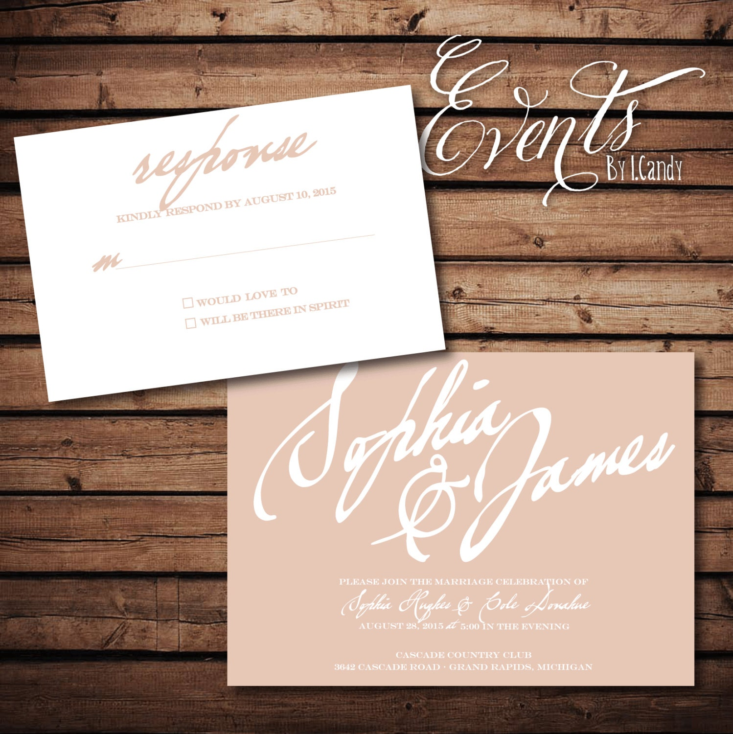Blush Script Invitation And Rsvp OnePaperHeart Stationary Invitations