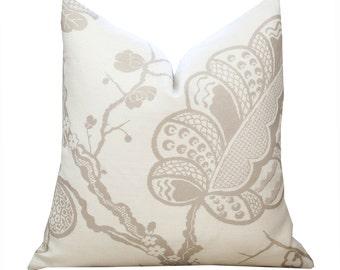 "ON SALE - 20"" Schumacher Bali Vine Pillow Cover in Sandstone"