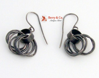 Rustic Rocker Style Earrings Sterling Silver