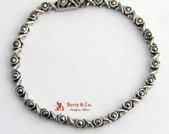Marcasite Tennis Bracelet Sterling Silver