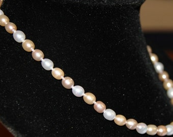 Peaches and Cream Freshwater Pearl Necklace with Rhodium Clasp and Matching Earrings