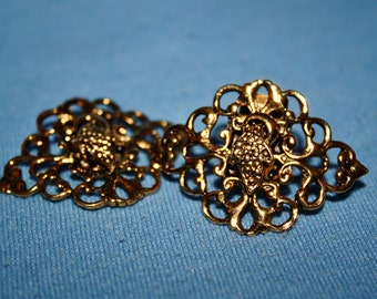 Vintage Bluette Filigree Show Clips Gold Tone Made in France