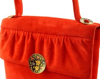 Vintage Carmine Red Suede Handbag with Enamel Clasp