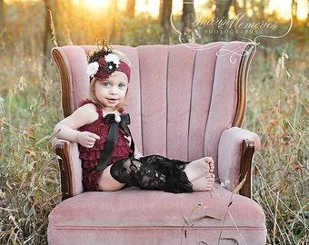 Burgundy Petti Romper/Petti Romper Set/Lace Romper/Baby Lace Romper/Baby Lace Dress/Baby Petti Romper/Infant Petti Romper/Girls Petti Romper
