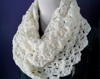 Chunky Crochet Lacy Infinity Scarf-Soft White