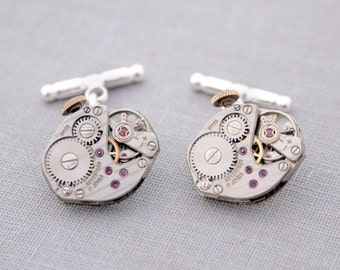 Watch Movement Cufflinks / Sterling Silver Wedding Cufflinks on Chain /Steampunk Cuff links Gifts for Husband Watchwork with Ruby Jewels