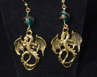Gold Dragon Earrings with Turquoise