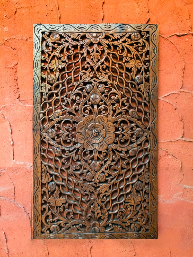 Carved Wood Headboard Wall Art Panel Or Wall By Siamsawadee