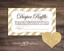 Instant Download Gold Glitter Baby Shower Diaper Raffle, Gold Glitter Diaper Raffle, Printable Baby Shower Games, Gold Door Prize 55A