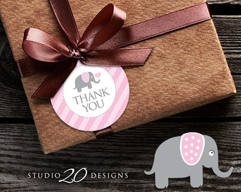 Instant Download Pink Elephant Thank You Tags, Printable Elephant Baby Shower Gift Tags, Baby Girl Thank You Tags 22B